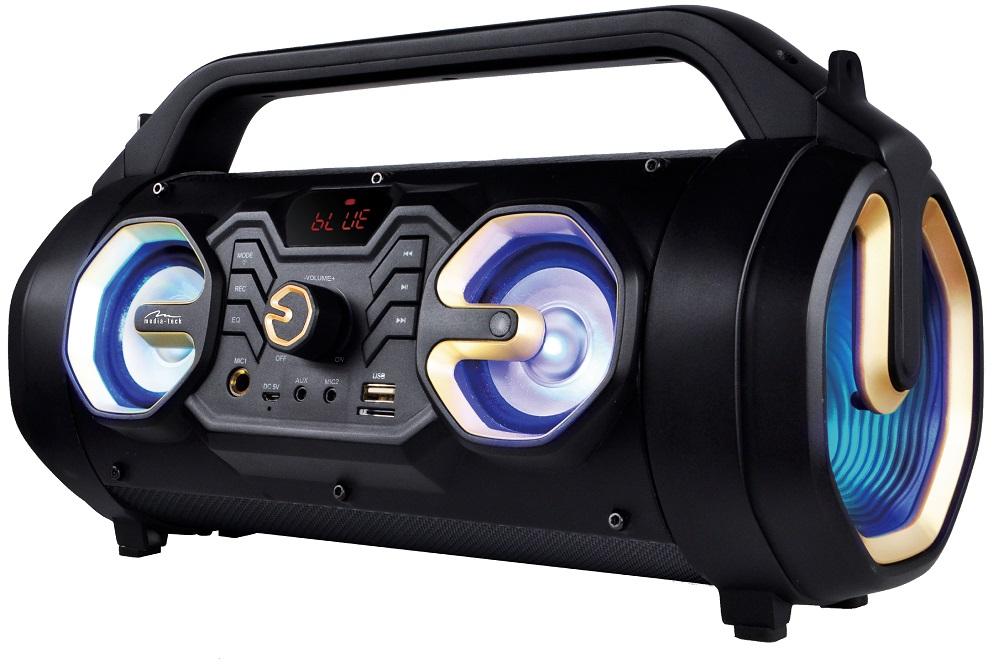 Kompaktný Bluetooth stereo boombox so zabudovaným subwooferom .
