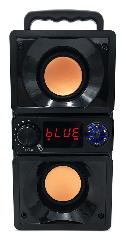 BOOMBOX DUAL BT je 2.2 bezdrôtový Bluetooth reproduktor s dvoma basovými reproduktormi a dvoma stredovými reproduktormi USB a čítačkou kariet